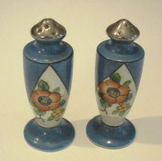 Vintage Japan Lusterware Floral Blue & Orange Salt & Pepper Shakers
