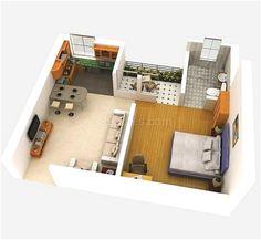 Denah Rumah Minimalis 1 Kamar Tidur 3D