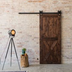 At Artisan Hardware, our Horseshoe Barn Door Hardware embodies the look of a rustic barn door. This hanging door hardware can be in any entryways & looks great! Barn Door Window, Glass Barn Doors, Window Shutters, Farm Door, Interior Sliding Barn Doors, Sliding Door, Barn Style Doors, Shaker Doors, Brown Doors