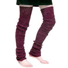Burgundy Super Long Cable Knit Leg Warmers