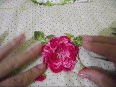 Flor com folhas de croche para aplique parte final - YouTube