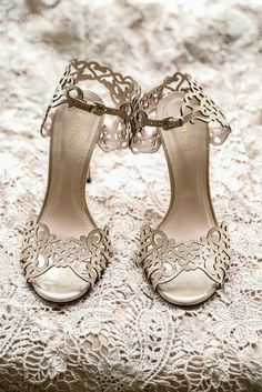 A pair of elegant heels tie a look together. The intricate designs on these pumps are reminiscent of details found on a secret garden wrought iron gate. Wedding Shoes Bride, Bride Shoes, Cinderella Slipper, Rustic Garden Wedding, Bride Accessories, Buy Shoes, Beautiful Shoes, Shoes Online, Fashion Shoes