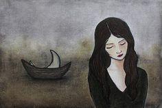 Art Print Moon Ship Sad Girl The Teacher's Duaghter by alonsov, $17.00