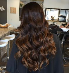 31 dark brown hair with caramel highlights