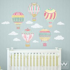 Cute Nursery Decor using Hot Air Balloon Removable Wall Decals from Wallternatives
