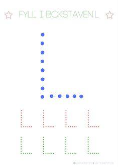 Lär dig skriva hela alfabetet med dessa färgglada bokstäver i färgerna röd, grön och blå – Lektionstips Tracing Letters, Teaching Reading, Cool Kids, Communication, Chart, Lettering, Education, Fun Ideas, Toddlers