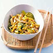 healthy low-carb dinner: asian chicken with corn and cucumber