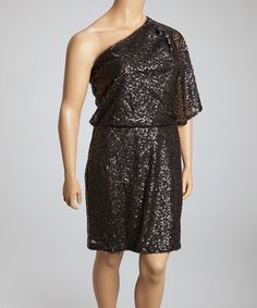 Take a look at this Black Sequin Asymmetrical Drop-Waist Dress - Women & Plus by Jessica Simpson Collection on #zulily today!