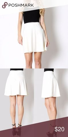 """Ivory High Mini Waisted Skater Skirt Coming Soon - Measurements and more photos will be available upon arrival  Modeling: S Length: 18"""" Fabric: 67% polyester, 30% rayon & 3% spandex  10% off 3+ items using """"Self Checkout"""" Skirts"""
