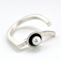 Silver Pearl Art Deco Ring, Asymmetrical