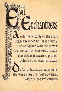 "Book of Shadows:  ""The Evil Enchantress."""