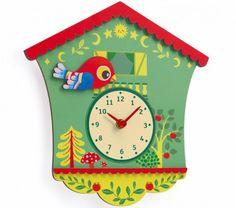 Djeco Horloge murale en bois - Coucou Peggy