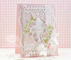 Mothers Day Card Making Ideas by Becca Feeken using JustRite Best Wishes, Bold Vines, Spellbinders Fleur Essence - more details at www.amazingpapergrace.com