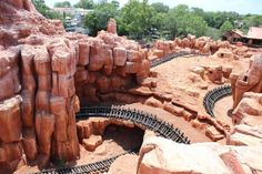 Big Thunder Mountain Railroad.  Love the view of the tracks and caves!!!