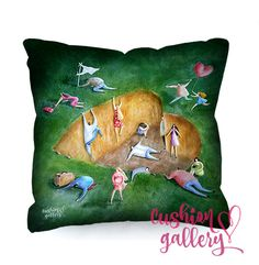 """Love trap"" illustrated cushion about falling in ."
