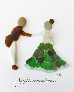 """First dance"" #sea glass artwork. #agifttorememberart #pebbleart #seaglassart #art #instaphoto #instagood #instadaily #instaart #handmade #australia #adelaide #frame #seaglass #beachdecor #gift #interiordesign #roomdecor #love #dance #etsy #makersgonnamake #madebyme #photooftheday"