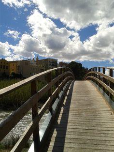 Cruzando por la pasarela 14 del Parque Natural del Turia