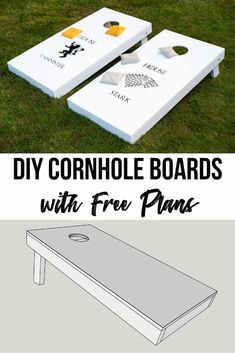Cornhole Boards with Free Plans - These DIY cornhole boards are easy to make and customize with your favorite teams or rivalries! Lea -DIY Cornhole Boards with Free Plans - These DIY cornhole boards are easy to make and customize with you. Easy Woodworking Projects, Diy Wood Projects, Woodworking Tools, Woodworking Quotes, Japanese Woodworking, Woodworking Equipment, Woodworking Magazine, Popular Woodworking, Woodworking Techniques