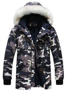 男性のためのカムフラージュ綿スマート コートをポケットします。 - Milanoo.jp