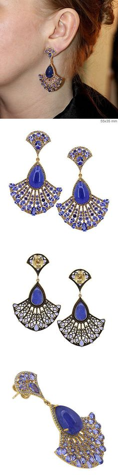 Earrings 52599: New Topaz Gemstone Sapphire 925 Silver Pave ...