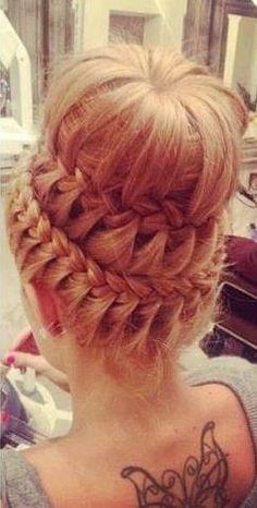 Love the braid circling around...minus the bun