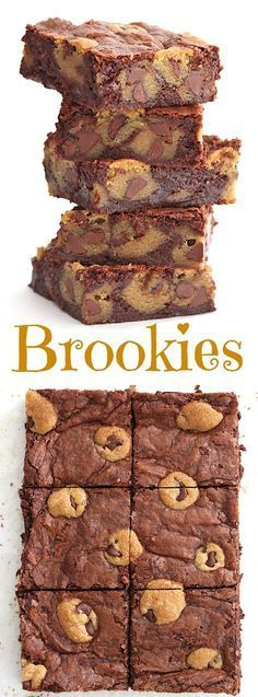 Brookies - chewy chocolate chip cookies baked right into fudgy brownies because . Brookies - chewy chocolate chip cookies baked right into fudgy brownies because why choose when you can have both in Brownie Recipes, Chocolate Recipes, Cookie Recipes, Dessert Recipes, Chocolate Smoothies, Chocolate Shakeology, Lindt Chocolate, Chocolate Mouse, Chocolate Drizzle