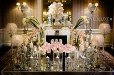 Elegant, glamorous mirrored table, silver candles and pink orchid wedding decor Wedding Reception Design, Wedding Show, Wedding Table, Wedding Details, Wedding Events, Wedding Ceremony, Our Wedding, Dream Wedding, Weddings