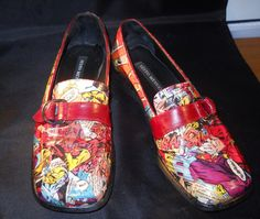 ❧ Flash #Upcycled Comic #Book Penny #Loafers Size 6M by CurbedEarth #handcrafted http://etsy.me/2gJQm3r