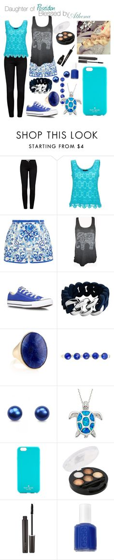 """""""Daughter of Poseidon, Blessed by Athena"""" by half-blood-outfits ❤ liked on Polyvore featuring Frame, Dolce&Gabbana, Converse, The Rubz, Accessorize, Kendra Scott, Kate Spade, Laura Mercier, Essie and Napoleon Perdis"""