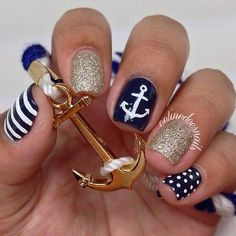 10 Nautical Nail Designs You Need In Your Life ❤ liked on Polyvore featuring beauty products, nail care, nail treatments, nails and makeup
