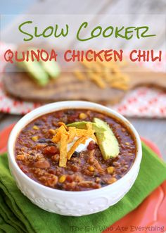 Slow cooker quinoa chicken chili - you can make this recipe vegan and plant-based by using vegetable broth and omitting the chicken.