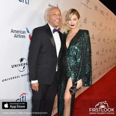 VENUS AND MARS OUTSHINE THE STARS.- Glimmering and beaming, Lucy McIntosh & Russell Simmons own the decades in classic Old-Hollywood ease as seen at Universal Music Group 2016 Grammy After Party.