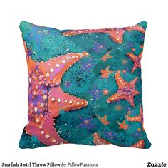 Starfish Swirl Throw Pillow