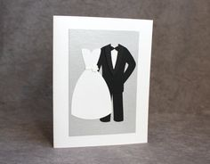 Congratulations to the Bride and Groom Card, Parent Thank You Card, Dress and Tuxedo Notecard