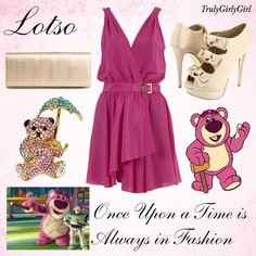 Disney Style: Lotso, created by trulygirlygirl Disney Character Outfits, Disney Themed Outfits, Character Inspired Outfits, Disney Bound Outfits, Disney Princess Dresses, Disney Dresses, Disney Clothes, Disney Inspired Fashion, Disney Fashion
