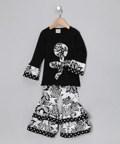Take a look at this Black Flower Top & Pants - Toddler & Girls by AnnLoren on #zulily today!