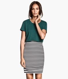 Green tee with black-white stripe pencil skirt. ~ I would want a green v-neck tee with a pocket instead.