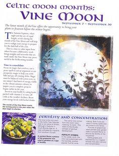 September 2 - 30, Vine moon: Celtic Moon Month