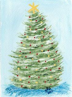 Nfac Christmas Tree Card Hand Painted Acrylic | eBay