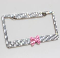 Carfond 7 Row Bling Bling Rhinestones Stainless Steel License Plate Frame With HOT Pink Bow Tie Bonus 2 Screws & 2 Caps (White/Pink Bowtie) Pretty Cars, Cute Cars, Princess Car, Pink Bow Tie, Cute Car Accessories, Girly Car, License Plate Frames, License Plates, Car Hacks