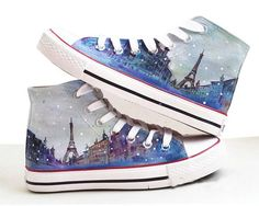 Eiffel tower shoes  Converse Sneakers HandPainted by Kingmaxpaints, $59.90