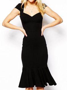 Black Sweetheart Neck Cap Sleeve Ruffle Bodycon Dress | abaday