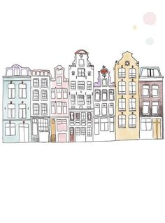 Selling this print of Amsterdam in 2 formats: or Printed in eco friendly paper. Here I drew the faces of houses in one of my favorite citie sin europe, Amsterdam. Building Sketch, Building Drawing, City Drawing, House Drawing, Building Illustration, House Illustration, Bullet Journal Ideas Pages, Bullet Journal Inspiration, Travel Inspiration