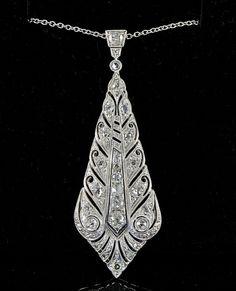 Edwardian or Art Deco 1.30 Ct old cut diamond long lonzenge pendant and chain 1920