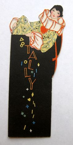 Vintage Bridge Tally Deco Style Masquerade Clown