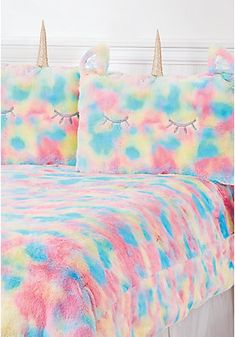image of Unicorn Rainbow Faux Fur Comforter Set - Queen/Full Sizes with Unicorn Bed Set, Unicorn Rooms, Fur Comforter, Queen Comforter Sets, Bedding Sets, Girl Bedroom Designs, Girls Bedroom, Bedrooms, Bedroom Ideas