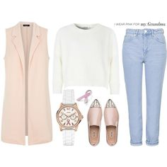 Breast Cancer Awareness Month by mollie-simmonds on Polyvore featuring Glamorous, Topshop, Miu Miu, GUESS, Bling Jewelry, women's clothing, women's fashion, women, female and woman