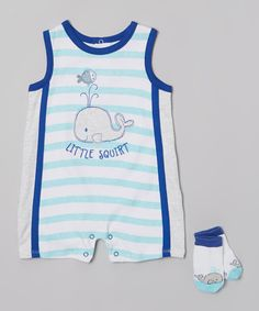 This Vitamins Baby Blue Stripe 'Little Squirt' Romper Socks - Infant by Vitamins Baby is perfect! #zulilyfinds