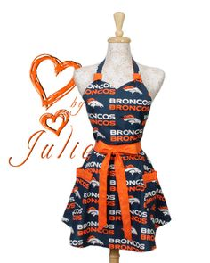 Vintage inspired Broncos Apron NFL football Denver by apronqueen, $29.95