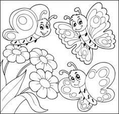 Butterfly And Flower Coloring Pages With Flowers Outlined Free - Coloring Page Ideas Spring Coloring Pages, Easy Coloring Pages, Flower Coloring Pages, Coloring Sheets, Free Coloring, Coloring Books, Butterfly Coloring Page, Clip Art Pictures, Free Vector Illustration